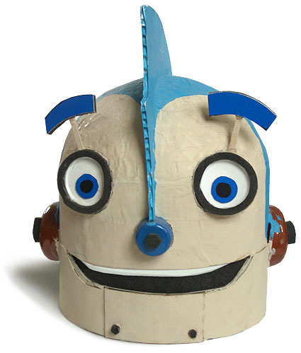 papier mache Rodney Robot head