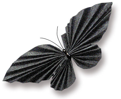folded paper spangled black butterfly