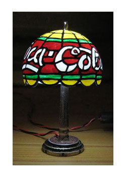 miniature Coca-Cola USB Tiffany lamp lit