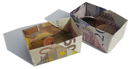 Origami moneybox from a banknote