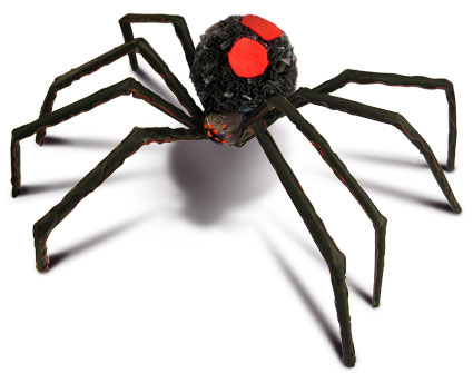 Spooky Black Widow Spider pompom