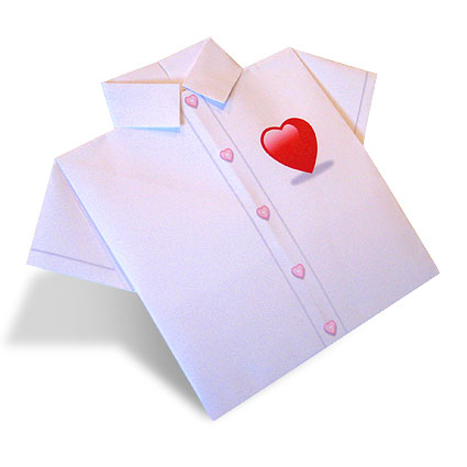 Valentine's Day Origami Paper Shirt