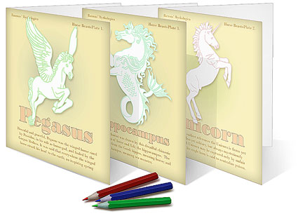 Three Mythical horse Beast make-your-own cards