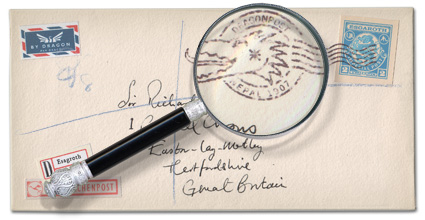 Dragonmail franked envelope magnified