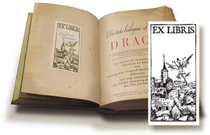 Ex-libris dragonary bookplate