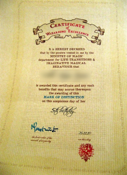 nepenthe's Wizarding Certificates